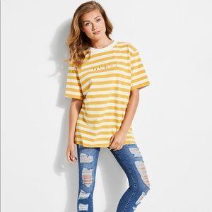 Guess Yellow & White Stripe Shirt Women's